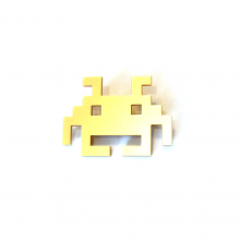 broche space invader dore copie